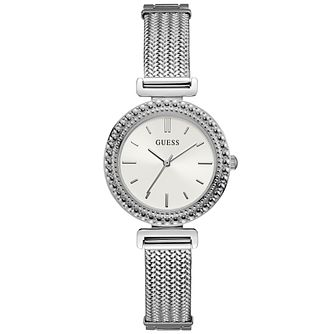 Guess Ladies' White Dial and Mesh Bracelet Silver Watch - Product number 9654798