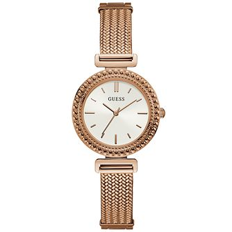 Guess Ladies' White Dial & Mesh Bracelet Rose Gold Watch - Product number 9654801