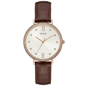Guess Ladies' Brown Croco Leather Strap Rose Gold Watch - Product number 9654836