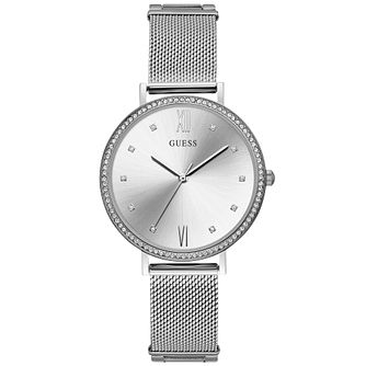 Guess Ladies' Silver Dial and Mesh Bracelet Watch - Product number 9654852