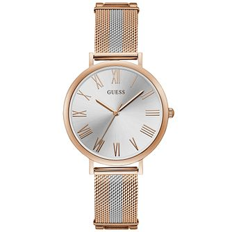 Guess Ladies' Soho Two Tone Rose Gold Tone Silver Dial Watch - Product number 9654941