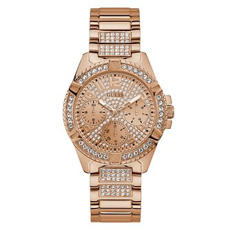 Guess Ladies' Crystals Glitz Dial Rose Gold Watch - Product number 9654984