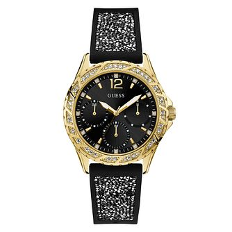 Guess Ladies' Crystals Black Dial and Strap Gold Watch - Product number 9655301