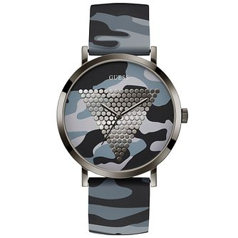Guess Men's Camo Logo Dial & Strap Gunmetal Watch - Product number 9655484