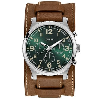 Guess Men's Green Dial Brown Strap & Cuff Silver Watch - Product number 9655492