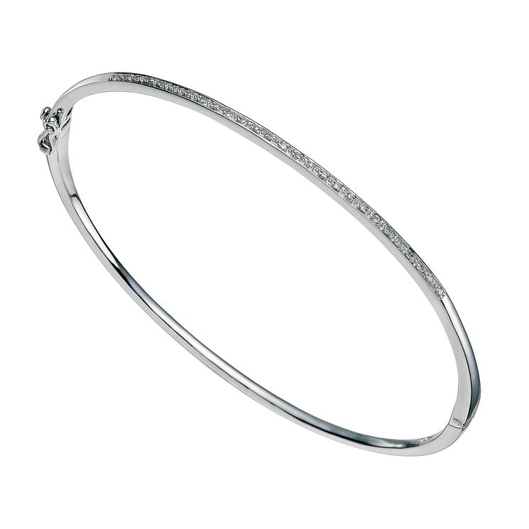 Sterling silver diamond set bangle - Product number 9656464