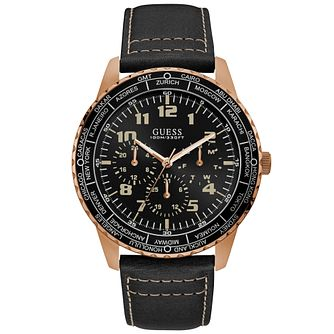 Guess Mens Black Leather Strap Watch Black Dial - Product number 9656936