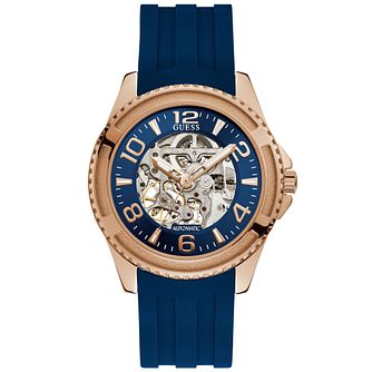 Guess Men's Blue Strap Automatic Rose Gold Watch - Product number 9656979