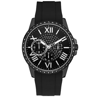 Guess Men's Crystal Dial Silicone Strap Black Watch - Product number 9657010