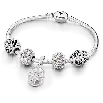 Chamilia Sterling Silver Oval Snap 5 Bead Bracelet - Product number 9659250