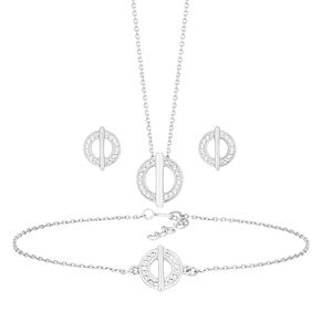 Evoke Silver Rhodium Plated Earrings, Pendant & Bracelet Set - Product number 9660844