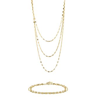 9ct Yellow Gold Draped Nacklace & Bracelet Set - Product number 9663304
