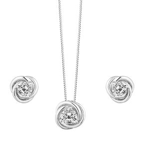Silver Cubic Zirconia Knot Earring & Pendant Set - Product number 9663339
