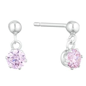 Children's Silver Pink Cubic Zirconia Stone Drop Earrings - Product number 9664173