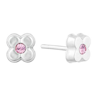 Children's Silver Pink Crystal Flower Stud Earrings - Product number 9664246