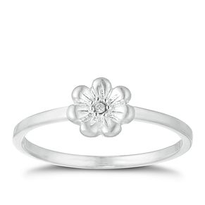Children's Silver Cubic Zirconia Crystal Flower Ring Size J - Product number 9664734