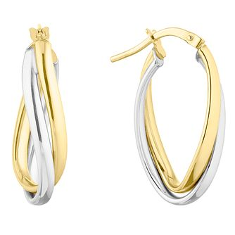 9ct Yellow Gold Double Oval Twist Hoop Earrings - Product number 9665366