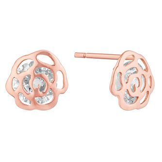 Rose Gold Cubic Zirconia Rose Studs - Product number 9665390