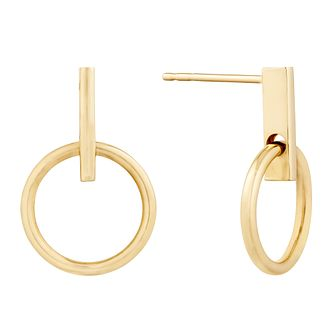 9ct Yellow Gold Circle Bar Stud Earrings - Product number 9665447
