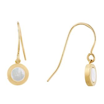9ct Yellow Gold Mother of Pearl Circle Drop Earrings - Product number 9665455