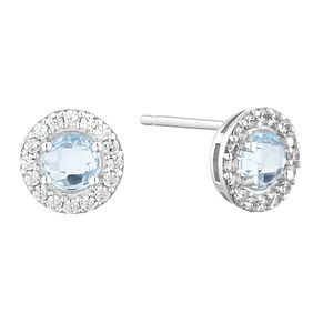 9ct White Gold Topaz & Cubic Zirconia Halo Stud Earrings - Product number 9665498