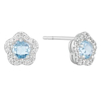 9ct White Gold Topaz & Cubic Zirconia Flower Stud Earrings - Product number 9665501