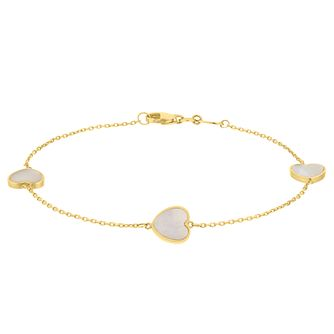 9ct Yellow Gold Mother of Pearl Heart Bracelet - Product number 9665722