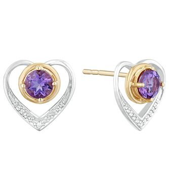 Silver & 9ct Yellow Gold Amethyst & Cubic Zirconia Earrings - Product number 9665811