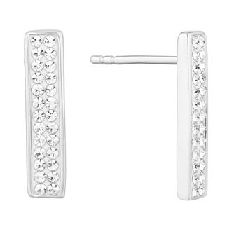 Evoke Silver Cubic Zirconia Crystal Bar Stud Earrings - Product number 9665870