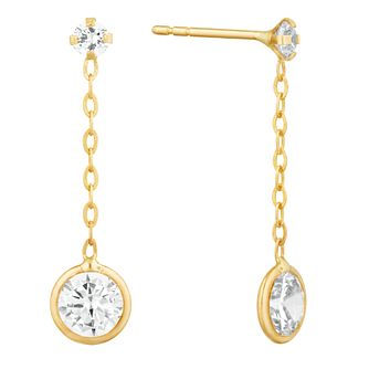 9ct Yellow Gold Cubic Zirconia Long Drop Earrings - Product number 9665900