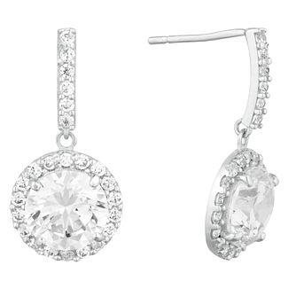 9ct White Gold Cubic Zirconia Halo Drop Earrings - Product number 9666044