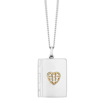 9ct Yellow Gold & Silver Cubic Zirconia Book Locket - Product number 9666370