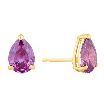 9ct Yellow Gold Purple Cubic Zirconia Teardrop Stud Earrings - Product number 9668497