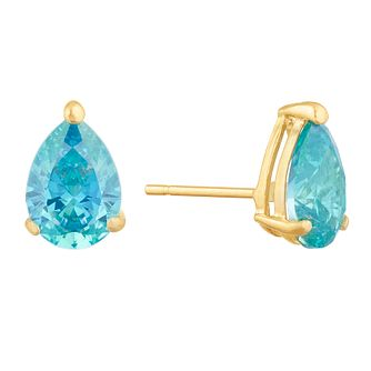 9ct Yellow Gold Teal Cubic Zirconia Teardrop Stud Earrings - Product number 9668500