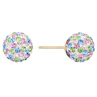 9ct Yellow Gold Multi Crystal Stud Earrings - Product number 9668519