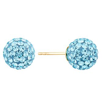 9ct Yellow Gold Blue Crystal Blue Stud Earrings - Product number 9668527