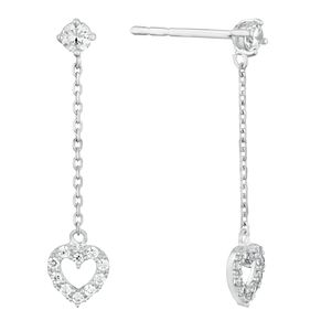 9ct White Gold Cubic Zirconia Heart Drop Earrings - Product number 9668608
