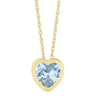 9ct Yellow Gold Blue Topaz Heart Pendant - Product number 9668624