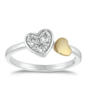 Silver & 9ct Yellow Gold Heart Cubic Zirconia Ring - Product number 9670076