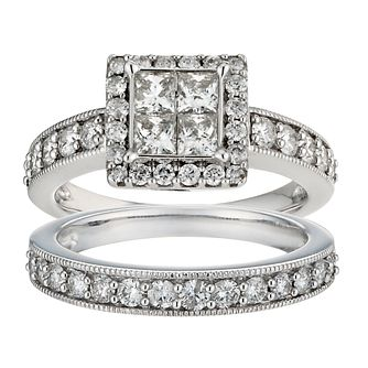 18ct white gold 1.50ct princess cut cluster bridal set - Product number 9674985