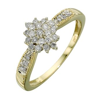 9ct gold two tone 1/4ct diamond ring - Product number 9678301