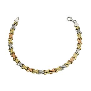 "Together Bonded 3 Colour Gold Kiss Bracelet 7.25"" - Product number 9684352"