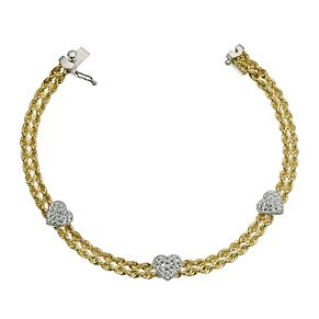 "Together Silver & 9ct Bonded Gold Heart Rope Bracelet 7.25"" - Product number 9684379"
