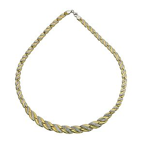 "Together Silver & 9ct Bonded Gold Wave Necklace 17"" - Product number 9687688"