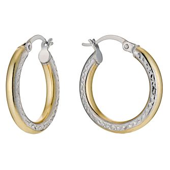 Together Silver & 9ct Bonded Gold Diamond Cut Earrings - Product number 9689176