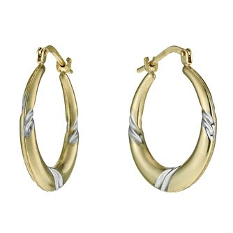 Together Silver & 9ct Bonded Gold Swirl Creole Earrings - Product number 9689214