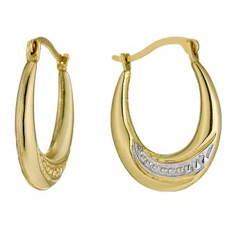 Together Bonded Silver & 9ct Gold Swirl Oval Creole Earrings - Product number 9689257