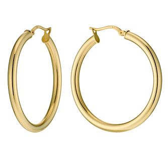 Together Bonded Silver & 9ct Gold Large Creole Earrings - Product number 9689494