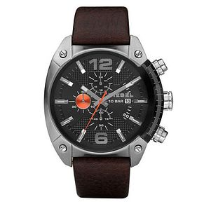 Diesel Overflow Men's Brown Leather Strap Watch - Product number 9690042