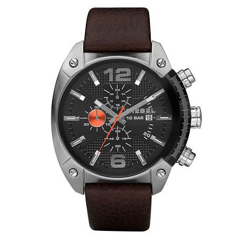 Diesel Mens Overflow Gunmetal Dial Brown Leather Strap Watch - Product number 9690042